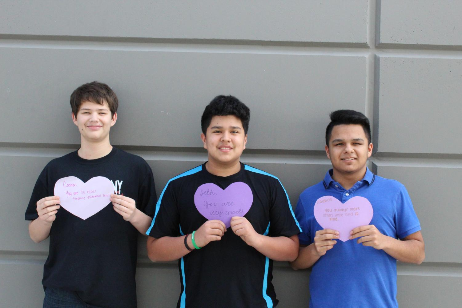 Students receive heart messages from the Student Council on Valentine's Day.
