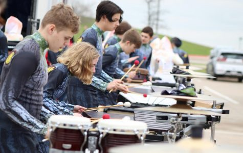 Pit section rehearses with percussion before NTCA Championships.