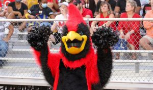 Birdie cheers for the Cardinals from the sidelines.