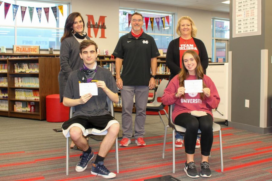 Pictured left to right, front row: Mason Doherty, Paityn Garlington. Back row Meredith Easter- Counselor, Kenneth Wooten- Principal, Christina Stover- Counselor