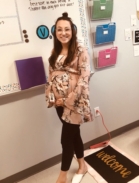 New high school geometry teacher Alicia Chavez shows off her baby bump.