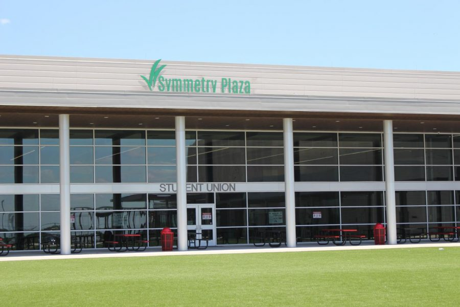 The Student Union building has a new sign: Symmetry Plaza.